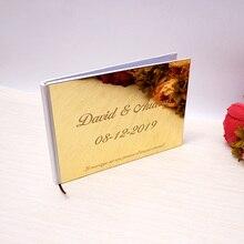 Персонализированные 25×18 см свадебный обычай книга для подписей посетителей акриловые зеркало белый пустой вечерние сувениры Фото Альбом