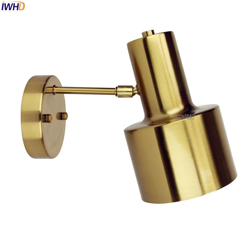 IWHD Nordic Modern LED Wall Light Brass Copper Bathroom Mirror Beside Lights Vintage Wall Lamp Sconce Lamparas De Pared modern led wall light for home beside lamp wall sconce led stair light arandela lamparas de pared