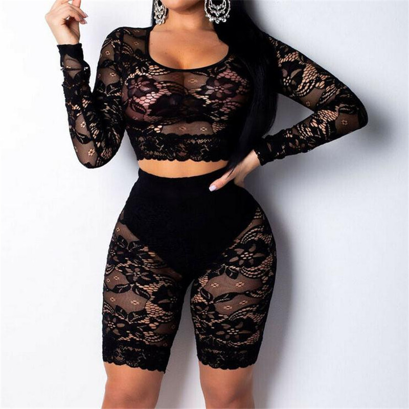 Women's 2Pcs Crop Tops Shorts Lace Bodycon Clothes Suit Ladies' New Sexy Long Sleeves Fashionable Summer Bodysuit Hot Selling