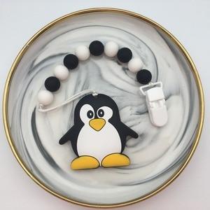 Image 2 - سيليكون البطريق/الباندا مشابك مصاصة للرضع سلسلة حامل الطفل مضغ حبة المقود مع البلاستيك البيئي اليدوية مهدئ الحلمة حزام