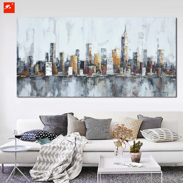 new york skyline cityscape abstract wall art oil painting on canvas print home room