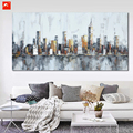2016 Skyline de New York Cityscape Arquitetura Abstrata Pintura A Óleo Arte Da Parede na Lona Impressão Home Room Decoração Industrial