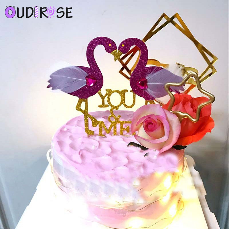 Terrific Oudirose 2Pcs Flamingo Cake Topper Happy Birthday Cake Decoration Funny Birthday Cards Online Fluifree Goldxyz