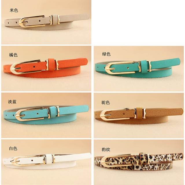 new Multi-color Lady's Slender thin Belt Ceinture feminion Pigskin metallic buckle women female waist belt free shipping Fashion & Designs Women's Belt Women's Fashion