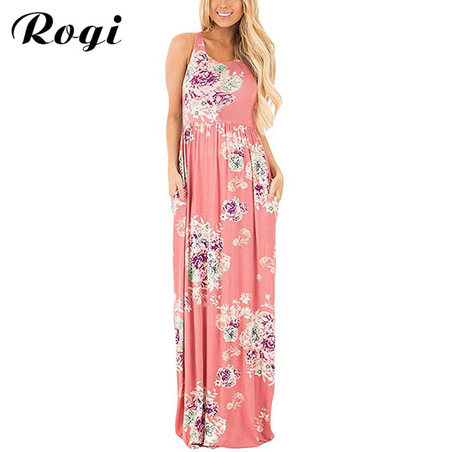 Rogi Vestidos Largos Verano 2017 Summer Print Long Boho Dress Casual ...