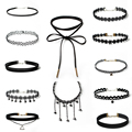 New 2016 Accessories Women's Gothic Necklace Combination Black Lace Velvet Choker Necklace Collar Tassel Neck Chain 12PCS/SET
