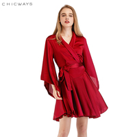 CHICWAYS Wrap Dresses For Women Ruffled silk satin Batwing Sleeve Sexy Female Mini Dress Streetwear Brief Office Lady Vestidos