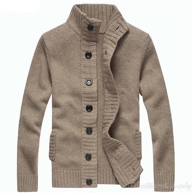 Suéter feo de la navidad de los hombres chaqueta de punto de cuello alto de punto jumper jersey hombre otoño masculino ropa de abrigo botones de abrigo