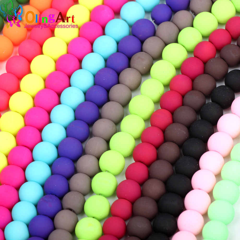 """8mm Matte Frosted Neon Rubberized Glass Round Beads Blue w// Pink 14.5/"""" 50"""