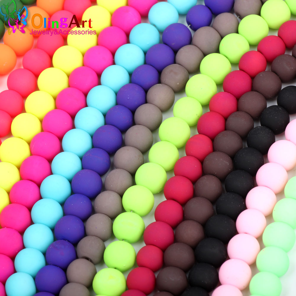 Beads & Jewelry Making Jewelry & Accessories Olingart Rubber Glass Beads High Quality 100pcs 8mm Candy Color Neon Matte Beads Handmade Jewelry Making Diy Wholesale 2019 New