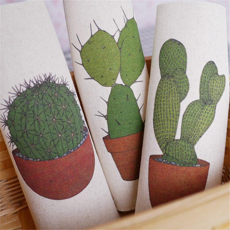 Nueva Mano teñida de Cactus 3 unids/set 20x20 cm Algodón de Lino Impreso Quilt