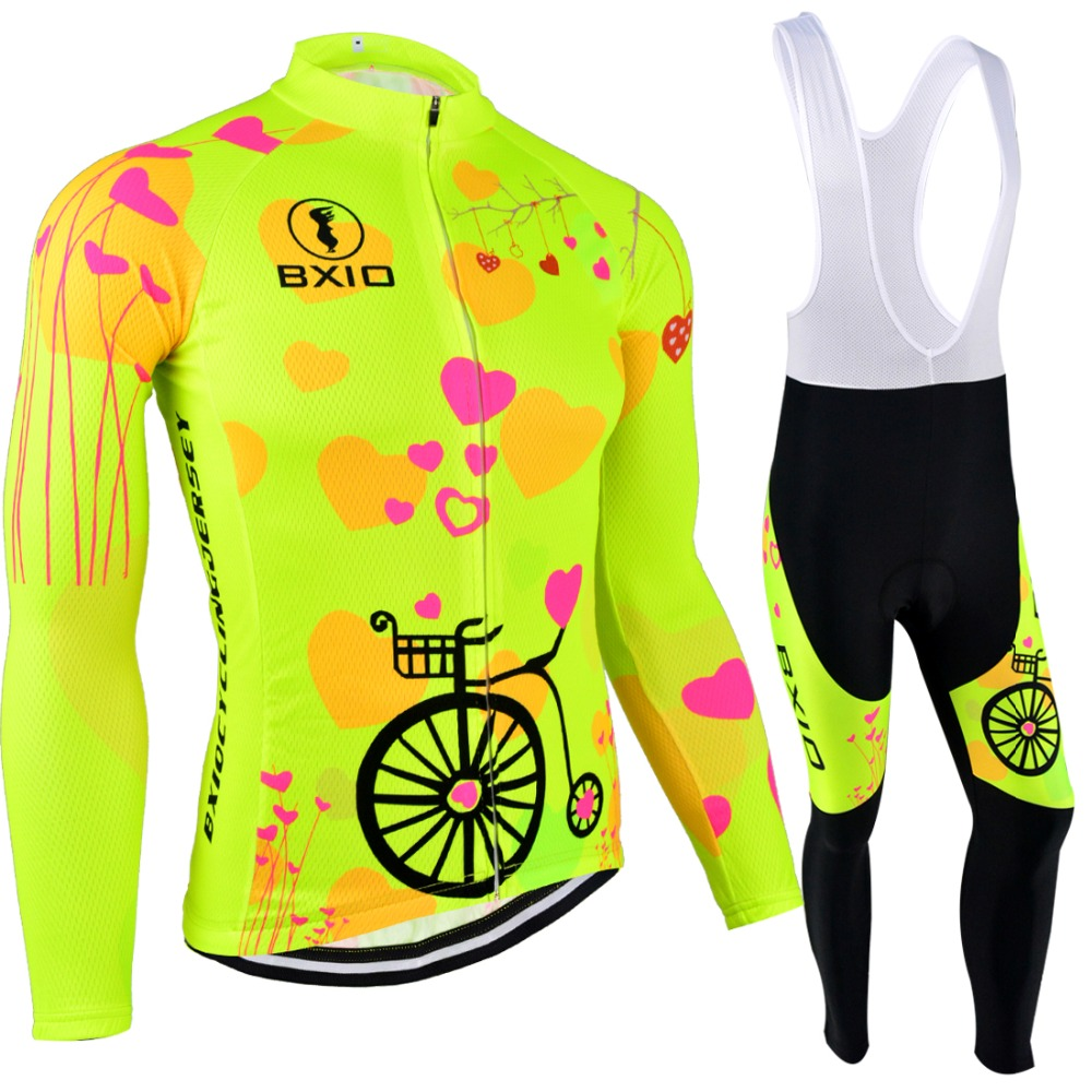 BXIO Mujer Ropa Ciclismo Invierno Pro Team Bike Clothes Fluo Yellow Bicycle Clothing Winter Thermal Fleece Cycling Jersey 125 cycling bike bicycle handlebar tape belt wrap w bar plug yellow camouflage 2 pcs
