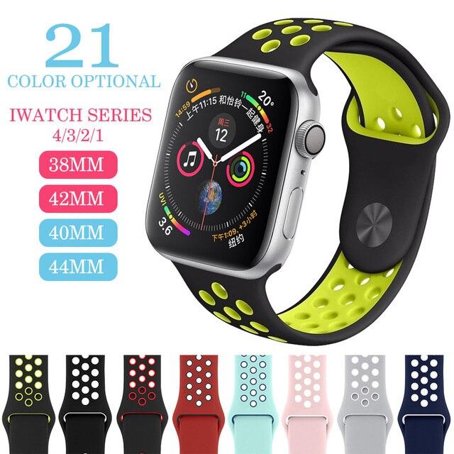 Эластичный дышащий Силикон Спортивный ремешок для apple watch 42 мм, 38 мм, Версия 44 мм 40 мм браслет на запястье, apple серии 4/3/2/1 Универсальный