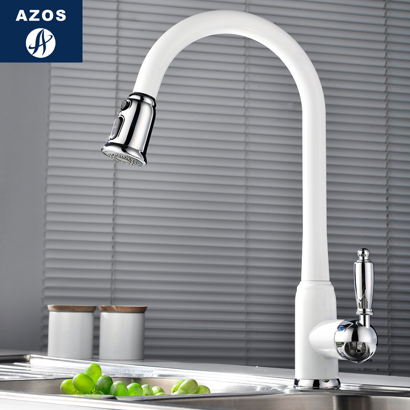 Kitchen Sink Faucets 4 Design White Porcelain Black Stainless Steel Swivel Pull Out Hose Chrome Polish
