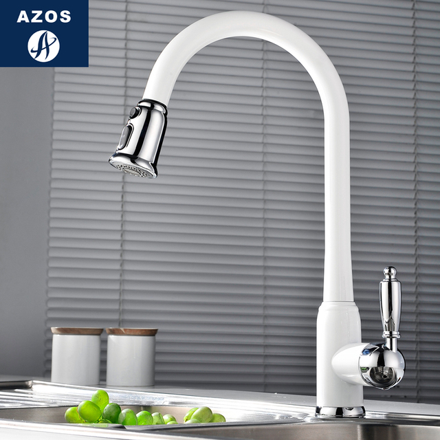 Kitchen Sink Faucets 4 Design White Porcelain Black Stainless Steel Swivel Pull Out Hose Chrome Polish Brass Deck Mixers CLCF012