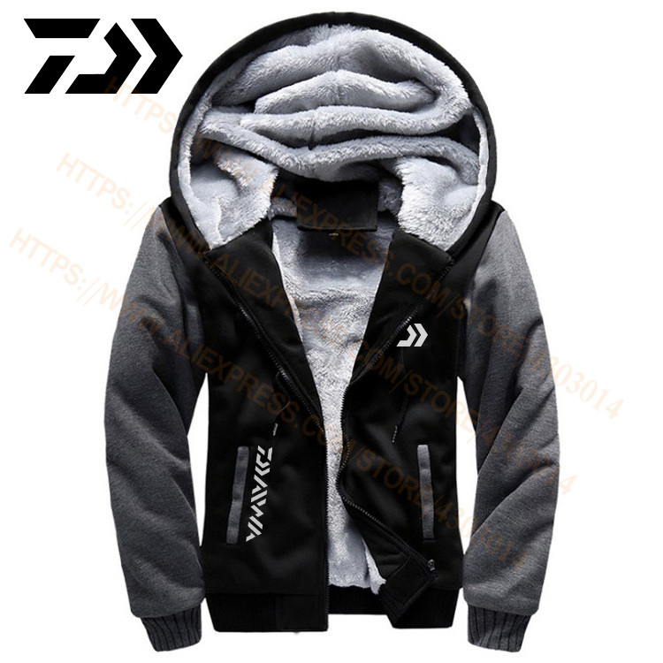 2020 Daiwa Vissen Kleding Hoodies Outdoor Sweater Met Cap Losse Fleece Warme Jas Mannen Vissen Kleding Met Kap
