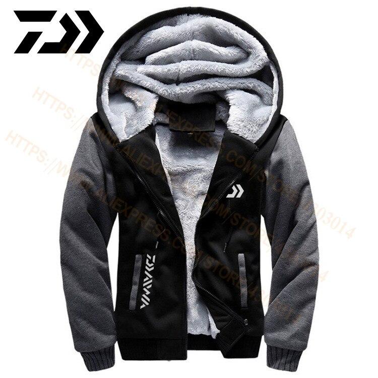 2020 daiwa roupas de pesca hoodies moletom ao ar livre com boné solto velo quente jaqueta masculino roupas de pesca com capuz