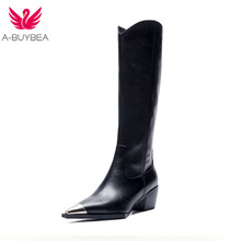 New Genuine Leather Metal Square Toe Knee High Boots Brand Design Fashion High Heel Botas Mujer Chunky Heel Zapatos Chic