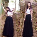 Por encargo para mujer primavera verano moda drapeado negro largo Tulle Tutu boda enaguas mujeres