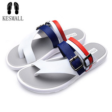 KESMAL size 40-45 men flip flops 2017 summer leather male Clip Toe sandals breathable Buckle beach slippers hollow sandals WS58