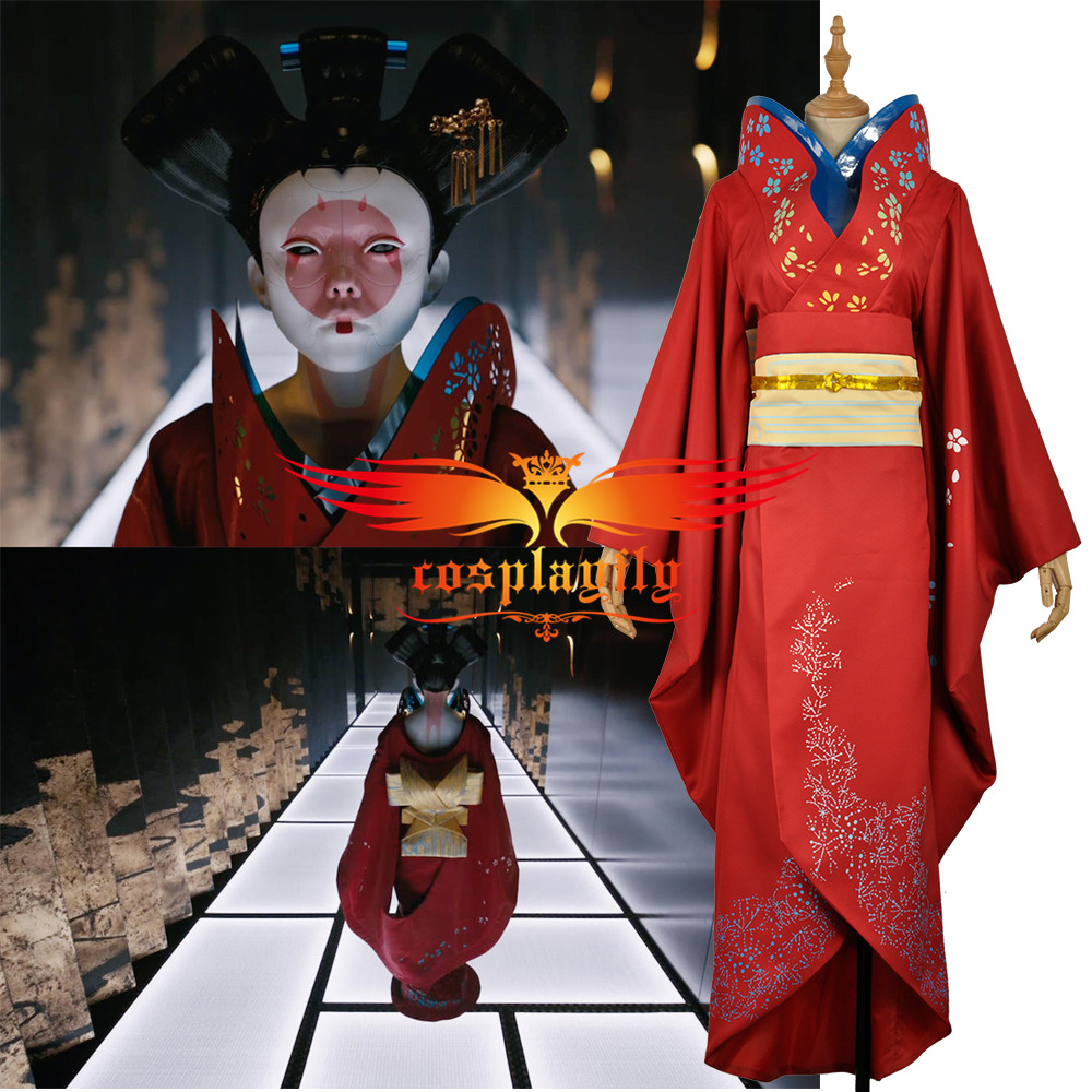 Anime Ghost In The Shell Japan Geisha Robot Cosplay Costume Adult Women Red Traditional Japanese Printed Kimono Girl Dress Cosplay Costume Costume Cosplayjapanese Cosplay Costumes Aliexpress