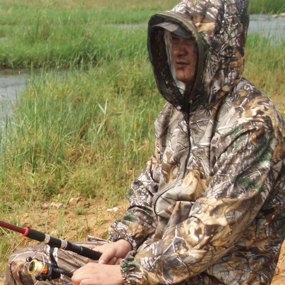 狩猟釣り服防蚊通気性バイオニック松迷彩コート軍の戦術的なスポーツジャケットとズボン