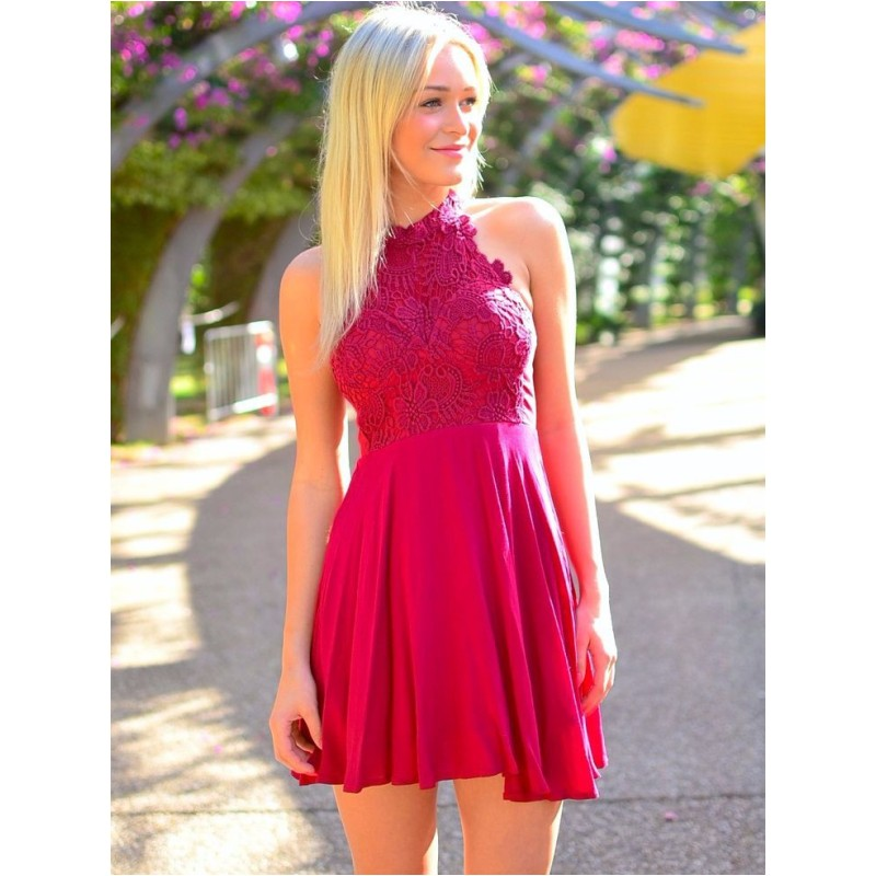 9538bb582 Fuchsia Lace Chiffon Homecoming Dresses Short High School Halter Graduation Dress  vestidos para graduacion