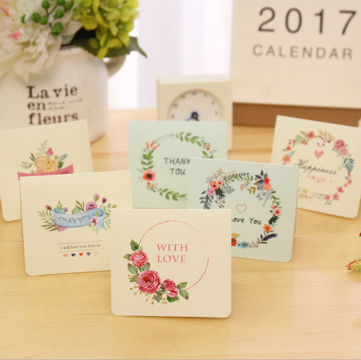 1packlot sweet romantic mini greeting card setenveloperope creative flower greeting card diy blessing card christmas gift thanks business card with envelope stationery school reheart Choice Image