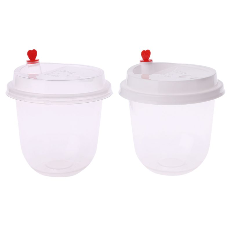 Cylinder Storage Box Container With Lid Transparent Plastic Organizer Milk Tea Cup For Foam Slime Mud Light Clay Gadgets Sundrie lid