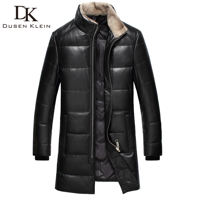 2017 Nuevo cuero de la Marca de down chaquetas hombres Dusen Klein Genuina piel de oveja de pato cuello de piel de visón abrigos de piel 61I7023