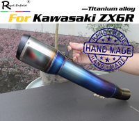 Motorcycle Slip on exhaust system for kawasaki zx6r zx636 custom hande made titanium alloy exhaust muffler escape for zx6r zx636
