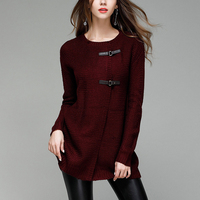 Autumn Hot Sale Elegant Women Long Knitted Cardigan Sweaters Large Size Solid PU Button O Neck