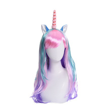 Cartoon Unicorn Cosplay Wigs Women hair Girls Wig Halloween Carnival Party