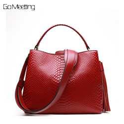 Go Meetting Women Shoulder Bag Tote Handbag Genuine Leather Crocodile Pattern Crossbody Messenger bags for women 2018 sac a main