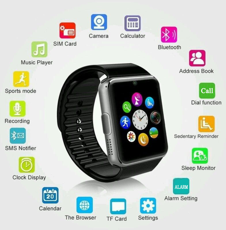 Smart Watch for iWatch iPhone Android SmartWatch Support Sim TF Card Touch Screen Passometer Fitness Tracker Message Remind GT08
