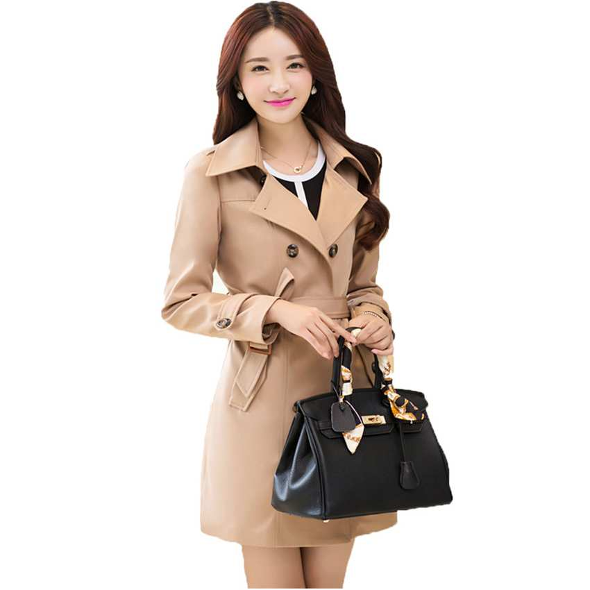 brand work classic trench coat red windbreaker autumn dress overcoat women long black ladies coats plus size outwear office 309