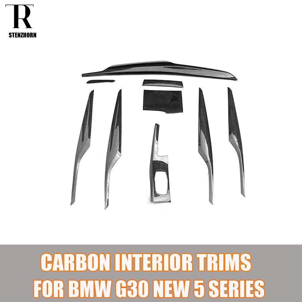 G30 добавить на Стиль углеродного волокна интерьер приборной панели формовочная Накладка для BMW G30 Новая 5 серия 530 540 левый привод 2017 вверх