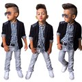 Boys Denim Clothing Sets Children Casual Denim Trousers 3pcs Casual Turn Down Collar Long Sleeve Blazer Plaid Shirt Denim Pants