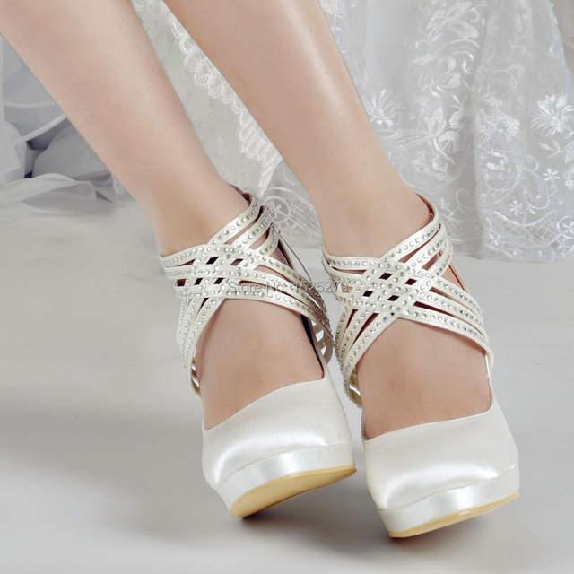 Shoes Woman EP11085-PF Ivory White Women Shoes High Heel Rhinestones  Platforms Pumps Zip Strap abc39e361401