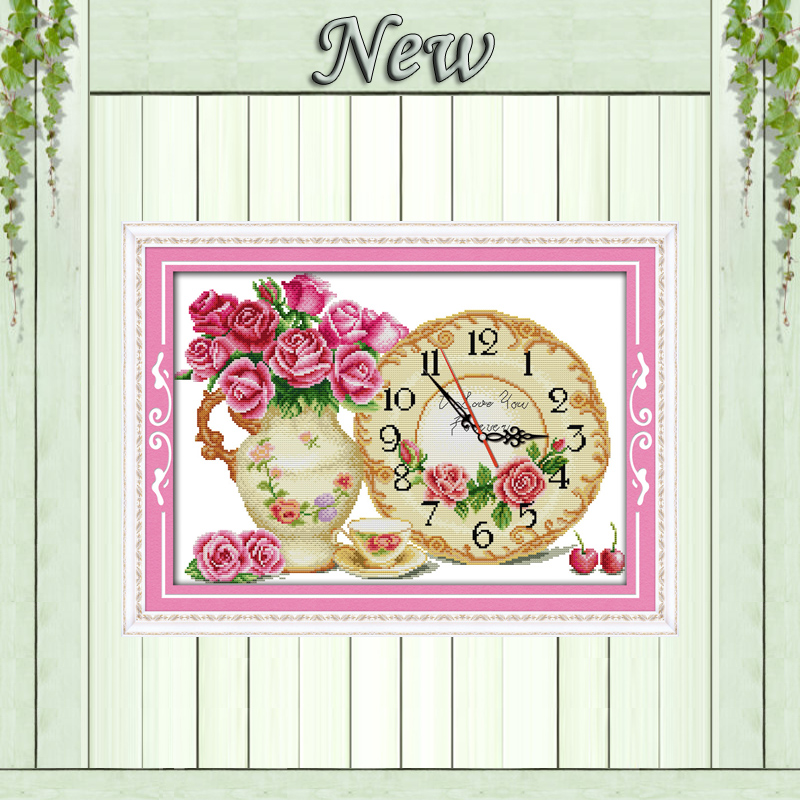 Roses Love Home Wall Decor Paintings Counted Print On Canvas Dmc 11ct 14ct Chinese Cross Stitch Kits Embroidery Needlework Sets Home & Garden