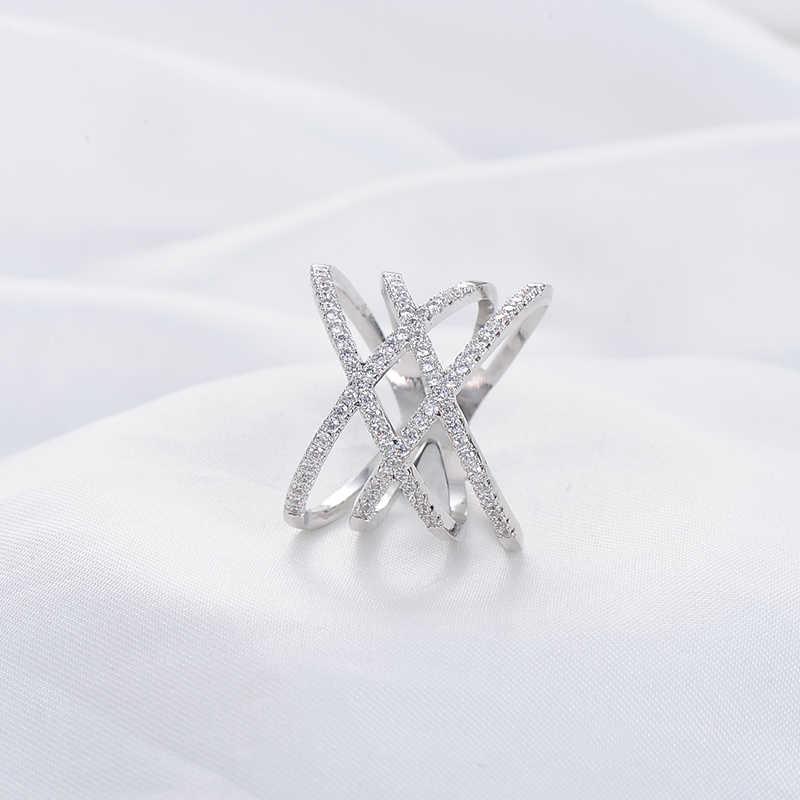 Beagloer แหวนแฟชั่นใหม่ Double Cross X แหวน Rose Gold/Silver Zirconia แหวนผู้หญิง CRI1029-B