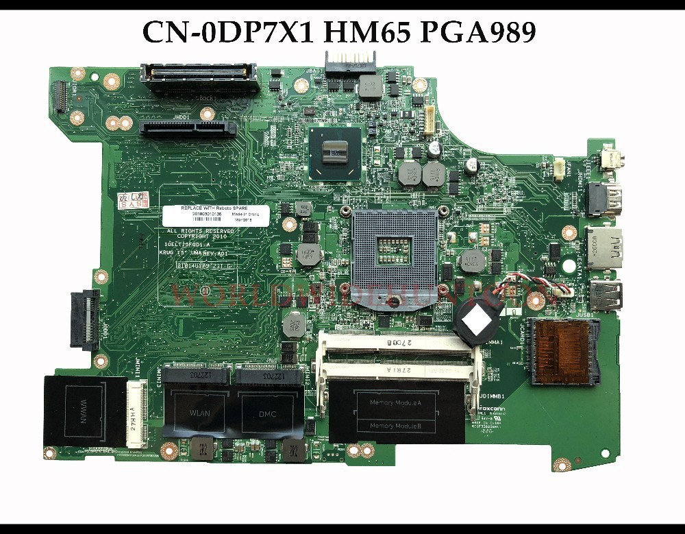 High quality CN 0DP7X1 for Dell Latitude E5520 Laptop Motherboard DP7X1 HM65 PGA989 DDR3 100 Fully