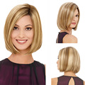 """Woman Natural 12"""" Full Lace Highlight Wigs Blonde Short Synthetic Hair Style Puffy Flase Hair Heat Resistant Women Hairpieces"""
