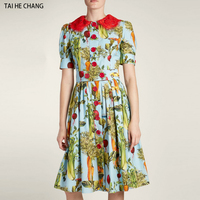 2018 high end women fashion designer summer elegant bodycon casual vintage party floral printed runway long lace dress