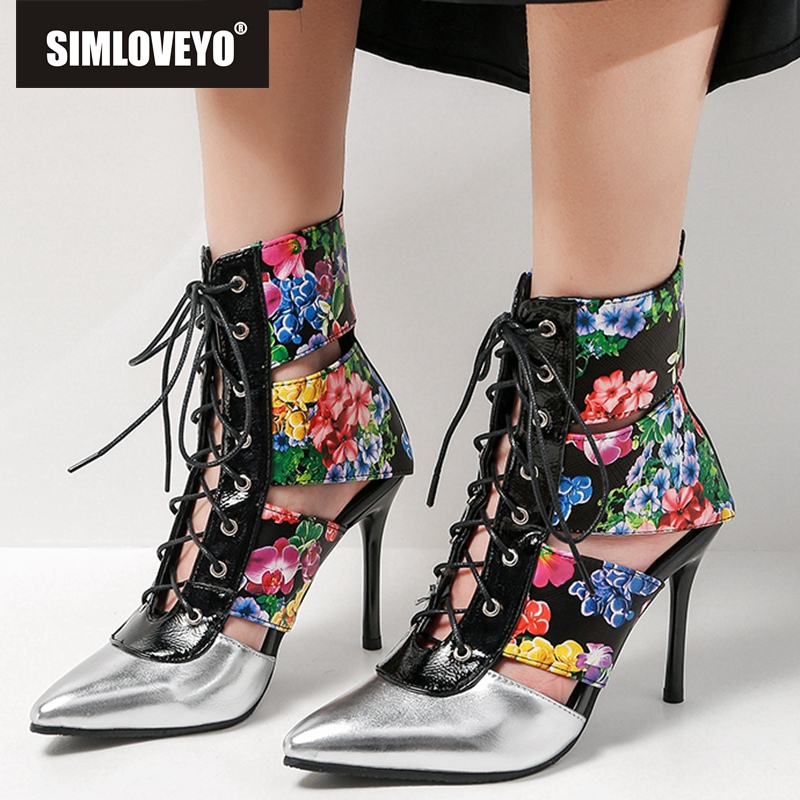 SIMLOVEYO woman Summer boots Mid calf cut out boots gladiator stiletto high heel Female mujer Pointed toe Flower Cross tied