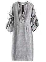 Bán Hot Kẻ Sọc Váy V-Cổ Puff Tay Áo Houndstooth Kiểm Tra trang Phục Ladies Office Wear Midi Dresse