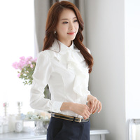 Womens Tops And Blouses Solid Color Black White Long Sleeve Chiffon Blouse Korean Fashion Office Camisa