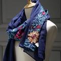 long big embroidered hijab scarves floral viscose shawl ethnic japanese Bandana for Ladies women high quality muslim hijab
