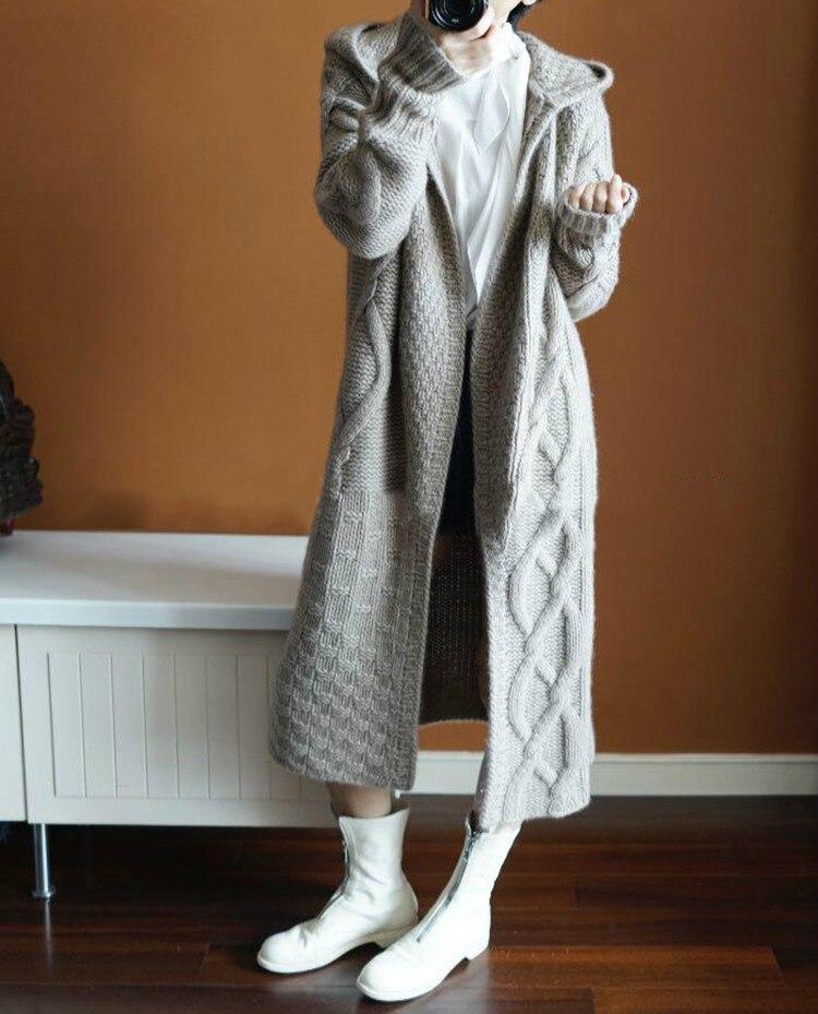 Doux Épais Noir Hiver Capuchon Manteau Mode camel Solide De En 2018 Long À Chandail Cachemire Automne Nouveau Cardigan Femmes light Couleur Gray 6UqAwFZ