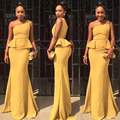 Honey Qiao African Style 2017 Bridesmaid Dresses Daffodil One Shoulder Mermaid Party Gowns Sexy Peplum Long Wedding Formal Gowns